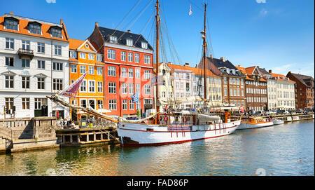 The boat moored in Nyhavn Canal, Copenhagen, Denmark