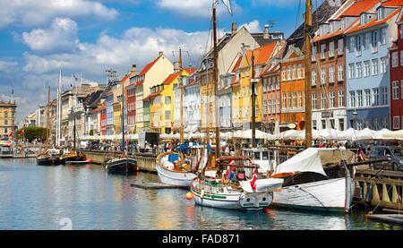 Copenhagen, Denmark - the boat in Nyhavn Canal - Stock Photo