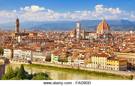 Cityscape view of Florence from the Piazzale Michelangelo, Tuscany, Italy - Stock Photo