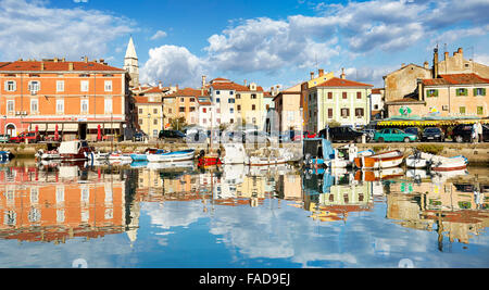 View at Harbor and old town of Izola, Slovenia - Stock Photo