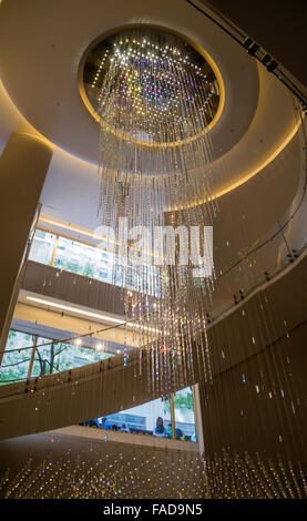 Joie Crystal Water Fall chandelier light fixture and stairs in the Top Of The Rock lobby in the Rockefeller Center