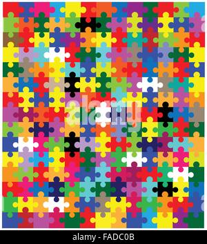A multi coloured jigsaw over a white background - Stock Photo