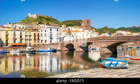 Bosa Old Town, Sardinia Island, Italy - Stock Photo