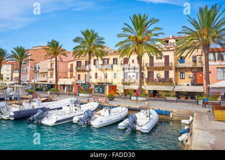 La Maddalena, view of the town and harbor, La Maddalena Island, Sardinia, Italy - Stock Photo