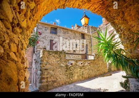 Small mountain village Lama, Balagne, Corsica Island, France - Stock Photo