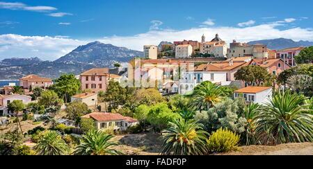 Piana Village, Les Calanches, Golfe de Porto, Corsica Island, France, UNESCO - Stock Photo