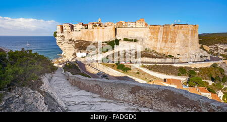 Bonifacio Citadel, South Coast of Corsica Island, France - Stock Photo