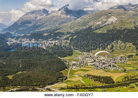View from Muottas Muragl towards St.Moritz and Silvaplana, Engadin, Switzerland - Stock Photo