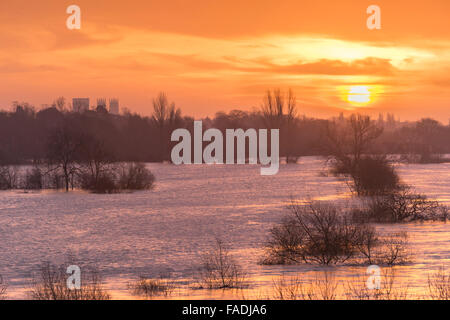 York, UK. 28th Dec, 2015. UK Flooding: The river Ouse with surrounded flooded land and distant York Minster in the - Stock Photo