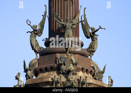 The Mirador De Colomb Monument by Rafael Atche, Portal De La Pau, Barcelona, Costa Brava, Catalonia, Spain - Stock Photo