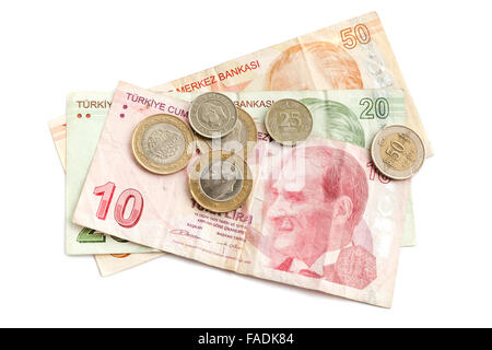 Turkish national money isolated on white background, banknotes and coins - Stock Photo