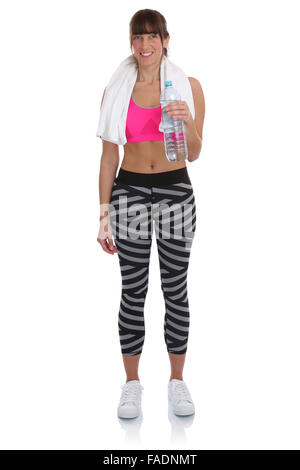 Young fitness woman with bottle water drinking sports workout training full body isolated on a white background - Stock Photo