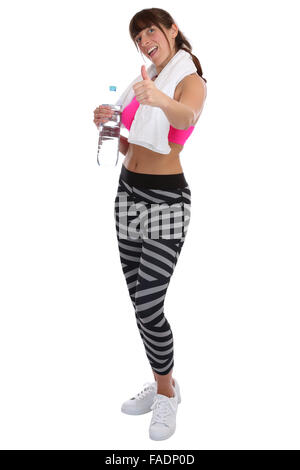 Fitness sports woman drinking water showing thumbs up full body isolated on a white background - Stock Photo