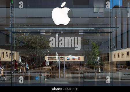 Adelaide, South Australia - January 27, 2015: Entrance to the Apple store in Adelaide located at Rundle Mall - Stock Photo