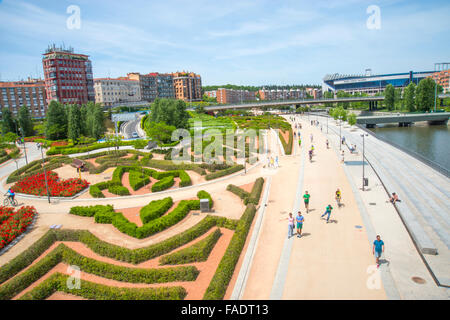 Madrid Rio park, view from above. Madrid, Spain. - Stock Photo