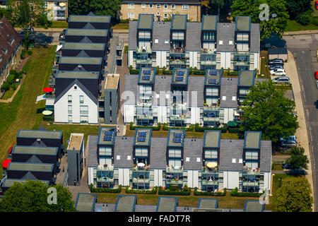Aerial view, Better Living with sun terraces in the southern city, Hattingen, Ruhr region, North rhine westphalia, - Stock Photo