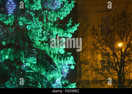 A close up of the decorated Christmas tree at Advent time in King Tomislav Park in Zagreb, Croatia. - Stock Photo