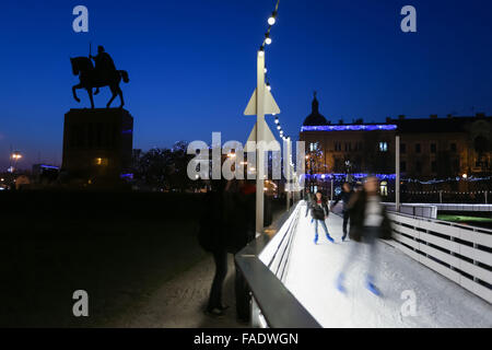 The city ice skating rink at Advent time in King Tomislav Park in Zagreb, Croatia - Stock Photo