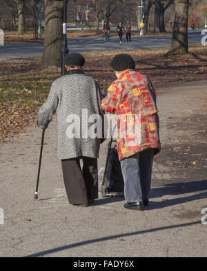 Old friends walking together in Prospect Park enjoying the sunny autumn weather in Brooklyn, NY. - Stock Photo