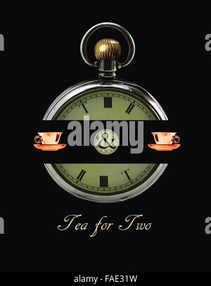 An antique pocket watch with numerals altered to read 'Tea for Two'. - Stock Photo