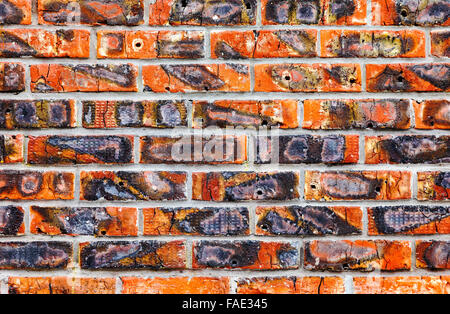 Weathered old red brick wall texture background - Stock Photo