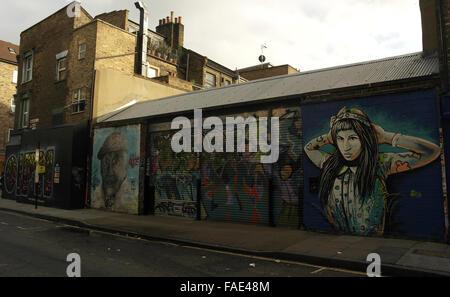 White sky, sun shade oblique view Alice Pasquini girl, Ben Slow Charlie Burns, Orfn images, Bacon Street to Brick Lane, London
