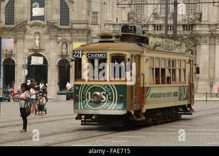Tram no. 22 at the end stop in Cordoaria, Porto, Portugal - Stock Photo