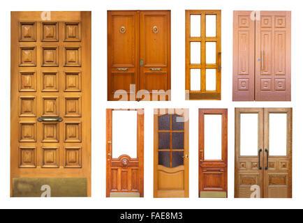 Set of wooden doors. Isolated on white - Stock Photo