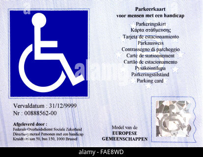 EU parking card for people with disabilities – Blue Badge – is standardized across the EU and EEA - Stock Photo