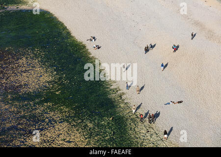 famouse Etretat beach from above - Stock Photo