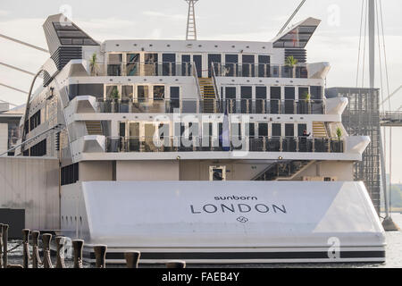 Sunborn boat hotel, Royal Victoria dock, London, England, U.K. - Stock Photo
