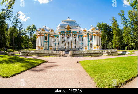 Hermitage Pavilion at the Catherine Park, Tsarskoye Selo in summer sunny day - Stock Photo