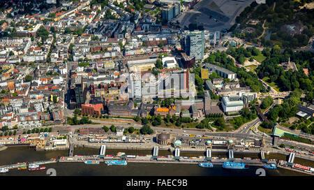 Luftbild, Landungsbrücken, Hamburger Hafen, Elbe,  Hamburg, Freie und Hansestadt Hamburg, Hamburg, Deutschland - Stock Photo