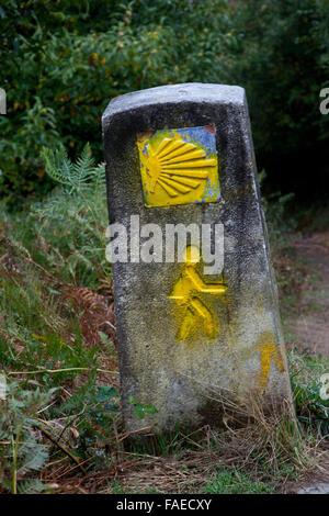 Camino pilgrim route marker on the Camino Francis of the Camino to Santiago de Compostela, Spain, scallop shell - Stock Photo