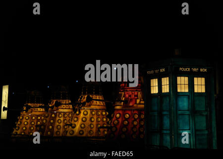 Night oblique view, to Ray Lowry's London Calling Tableau, Dalek Mania Tableau with blue Tardis, Cliffs, Blackpool - Stock Photo
