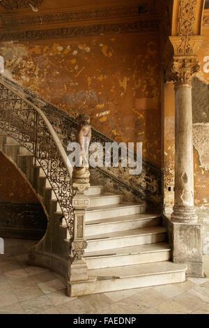 Marble staircase and statue in La Mansion Camaguey (La Guarida building), Havana, Cuba - Stock Photo