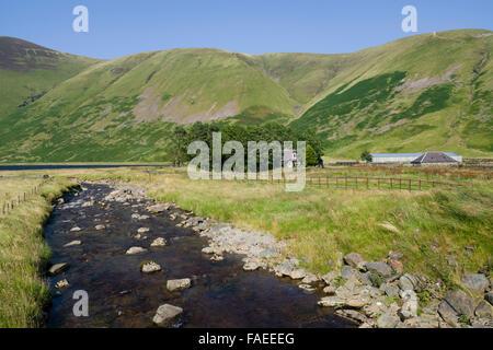 The Talla Burn as it flows towards Talla Reservoir in the Scottish Border hills - Stock Photo