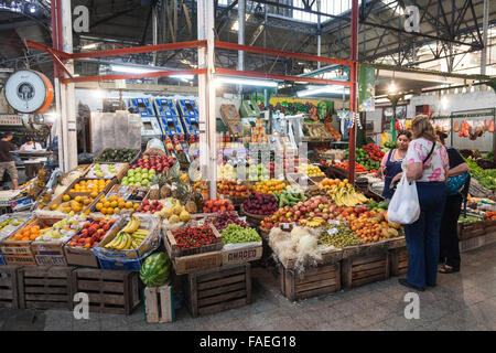 An indoor fruit and vegetable market in San Telmo, Buenos Aires, Argentina, South America - Stock Photo