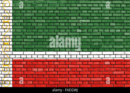 flag of Chechnya painted on brick wall - Stock Photo