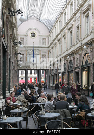 The Koninklijke Sint-Hubertusgalerijen or Galeries Royales Saint-Hubert is a glazed shopping arcade in Brussels. - Stock Photo