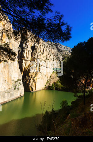 General view of  Caminito del Rey with Railway bridge over Chorro river. Andalusia, Spain - Stock Photo