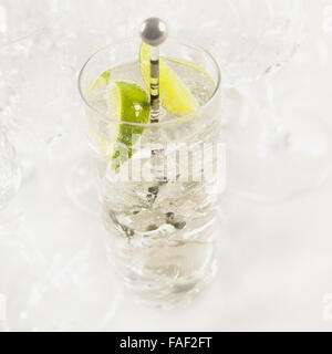 Glass of gin and tonic with ice, fresh sliced lime and drink stirrer. - Stock Photo