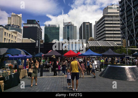 AUCKLAND,  NZL - DEC 12 2015:Auckland City Farmers Market.Auckland is the business capital of New Zealand and the - Stock Photo