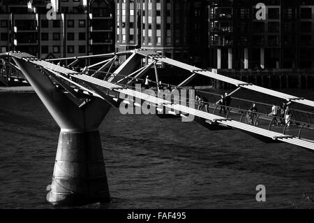 London Millennium Footbridge in London, UK. Black and white photography. - Stock Photo