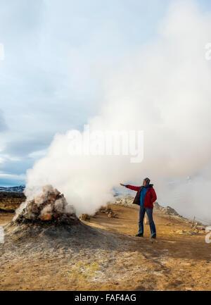 Volcanic field at Namaskard, Iceland - Stock Photo