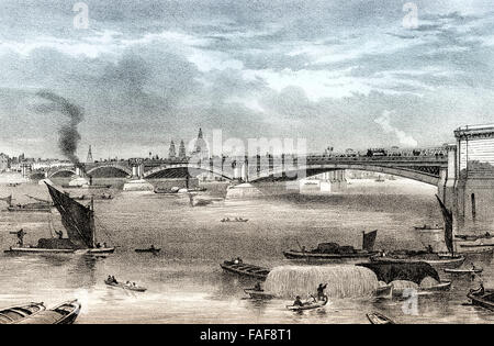 Blackfriars Bridge, a road and foot traffic bridge over the River Thames in London, 19th century, - Stock Photo