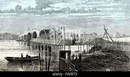 Blackfriars Bridge, a toll bridge over the River Thames in London, 18 century, - Stock Photo