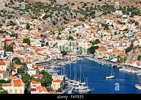 The port of Symi island is definitely the most beautiful in Greece. - Stock Photo