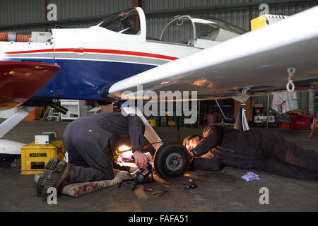 Maintenance on the wheels and brakes of a Vans RV-9 kit built light aircraft in the UK - Stock Photo
