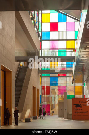 People in the interior of the Museum of Modern and Contemporary Art, Strasbourg, Alsace, France Europe - Stock Photo